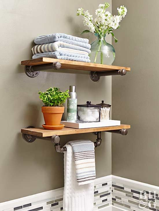 Add more storage to a small bathroom with a DIY shelving unit.
