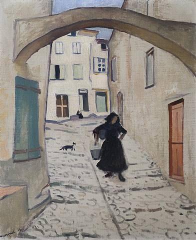 'Rue à Collioure', huile sur toile de Albert Marquet (1875-1947, France)