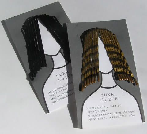 Cool business card idea for a hair salon. Bobby pin hair.