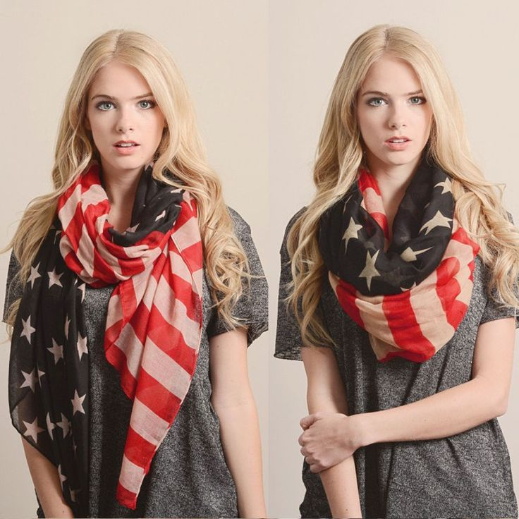 Vintage Usa American Flag Scarf Shawl Wrap Infinity Cowl Loop Patriot Summer