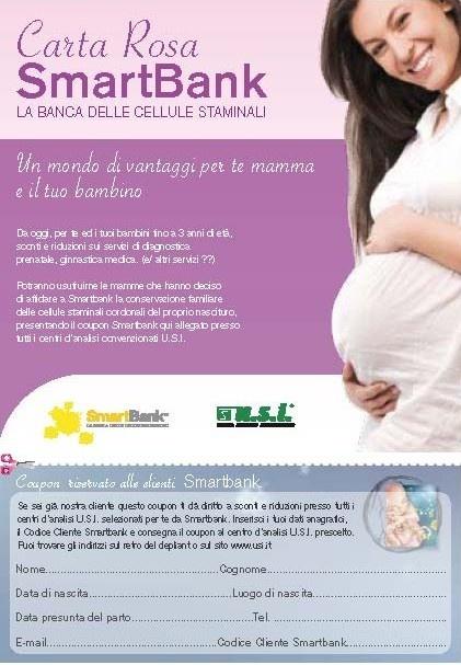 CARTA ROSA SmartBank - Laboratori analisi USI: dal 20 al 30% di sconto nei laboratori convenzionati di Roma e provincia per le mamme che conservano il cordone ed i loro bambini fino a 3 anni di età.