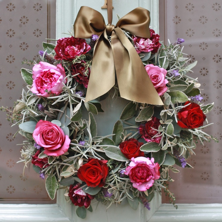 Captivating Luxury Christmas Silver Pink And Red Door Wreath...love The Silver Foliage  Itu0027s