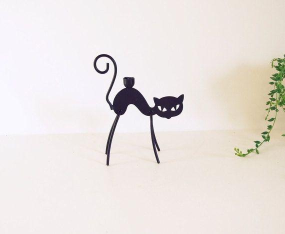 Ystad Metall Gunnar Ander porta velas gato  // por tiendanordica