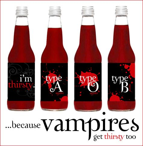 True Blood drink ideas. Hey, don't want to pay an arm and a leg for TB drinks? Print out these awesome covers and buy red sodas! Trust me, the TB drinks don't taste good at all.