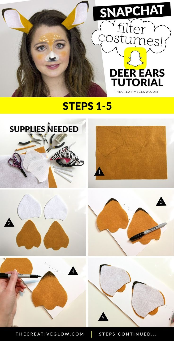 How to make snapchat deer filter ears headband for deer filter costume.  #halloween #snapchatcostumes #deetfiltercostume