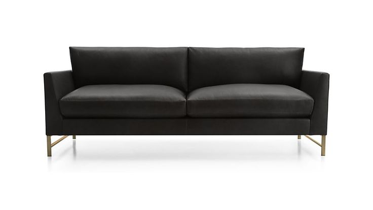 Tufted Sofa Genesis Leather Sofa with Brushed Brass Base Leather sofas Seat cushions and Cozy