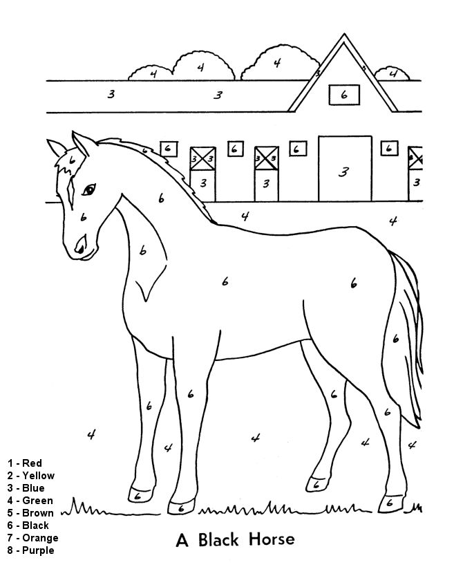 color by numbers page farm horse and stables