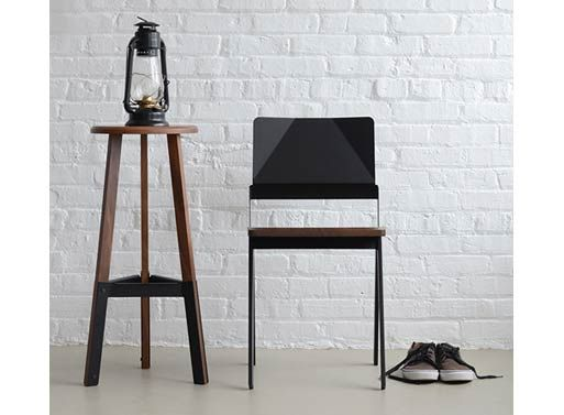 Poet Stool — Barstools -- Better Living Through Design: Solid Walnut, Durabl Construction, Construction Method, Poets Stools, Shape Solid, Form Steel, Poets Solid, Chairs 510, Lockwood Chairs