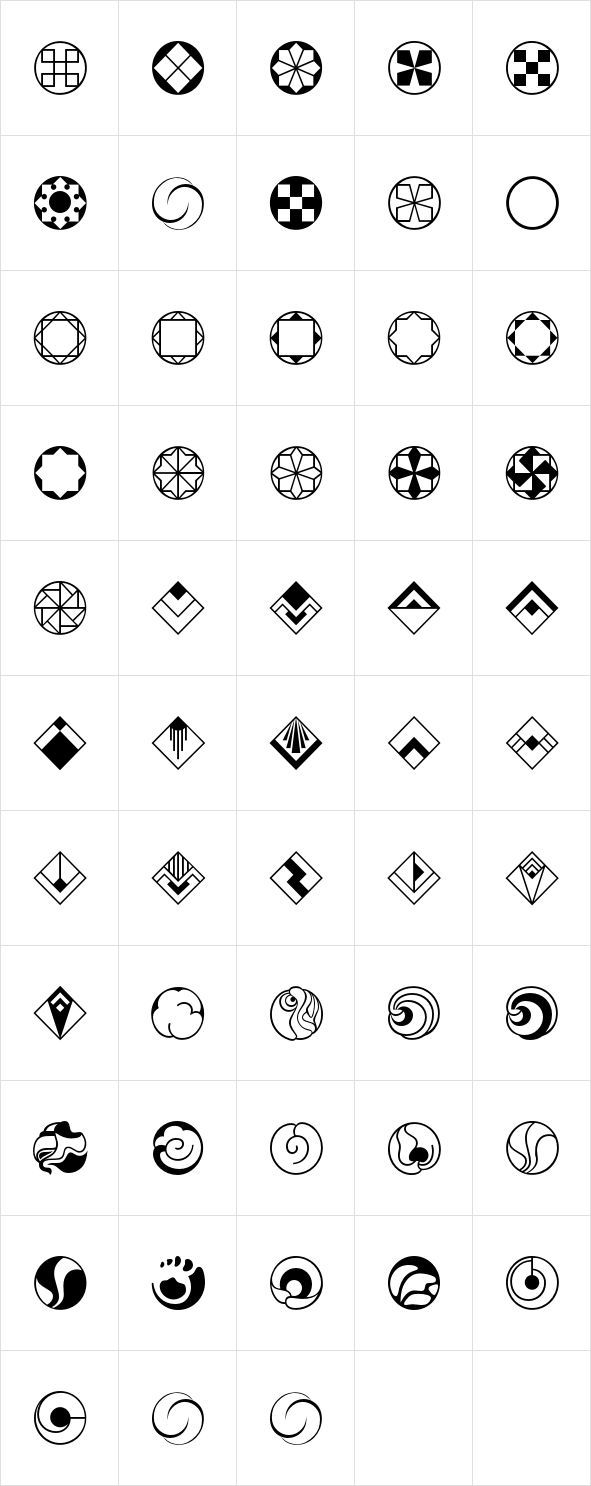 Rotata Mysticons were designed by Hellmut G. Bomm in 2004, released by URW of Germany. An interesting collection of icons and symbols in various styles, with a slight hint of Art Deco.: