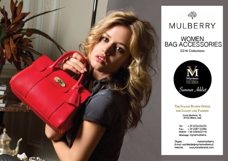 MULBERRY SS16 WOMEN BAG ACCESSORIES available for an order at Myriam Volterra Luxury Buying Office! Contact us by phone, email, Skype or visit our office in Milan and we provide you with all the necessary information! http://www.luxuryitalianbrands.com