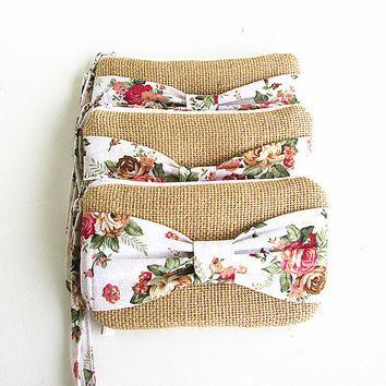 5 Burlap wristlets burlap clutches bridal cluth bridesmaid clutch ( set of 5) .