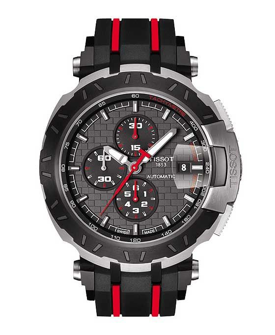 The @tissot T-Race MotoGP Automatic Limited Edition 2015, with its red-and-black motif, is powered by a Swiss-made automatic movement, which is visible through a wheel-shaped caseback window. #tissot #watchtime #horology