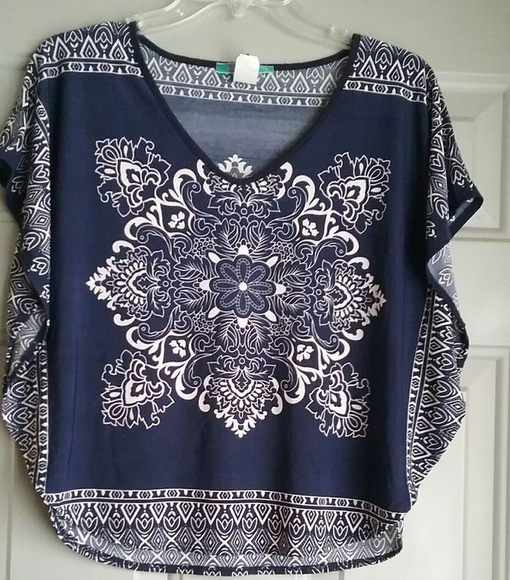 Womens Fashion Tunic Blue White Batwing Top Size Small | Clothing, Shoes & Accessories, Women's Clothing, Tops & Blouses | eBay!