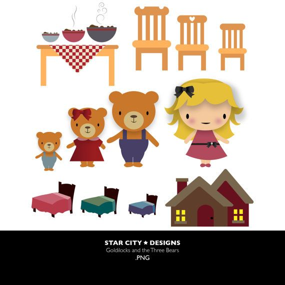 Goldilocks and the three bears Clip Art- Clipart, Vector Art, Graphics for Personal & Commercial Use