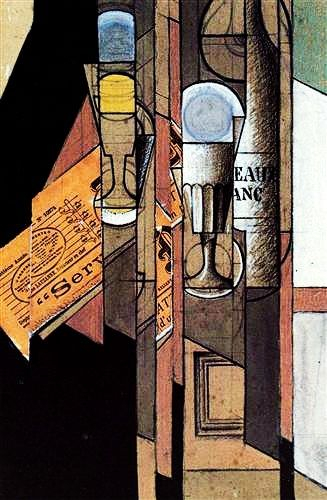 """Glasses, Newspaper and Bottle of Wine"".....Artist: Juan Gris Style: Synthetic Cubism Genre: still life."