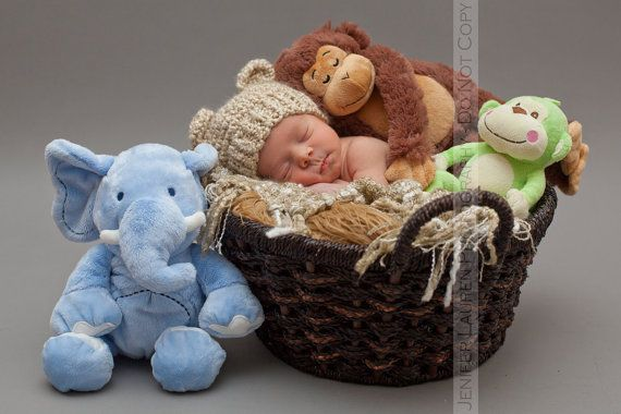 Baby Boy Or Baby Girl Bear Hat Knit To Match Cocoon In Neutral Cream Photo Prop