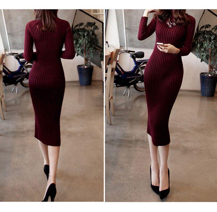 New Turtleneck Women long sweater dress 2017 spring sexy slim Bodycon Dresses Elastic Skinny Dress Brief Knitted Dress vestidos