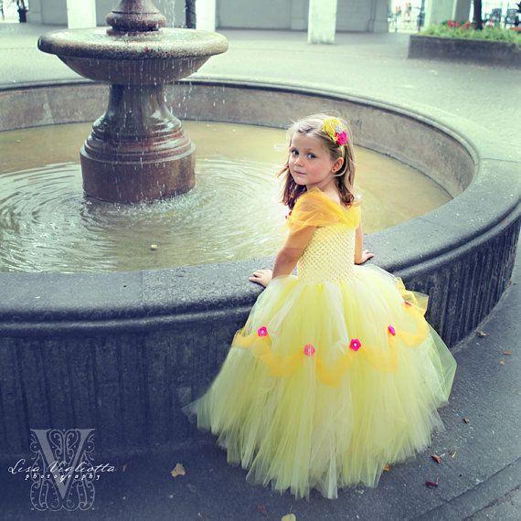 Belle Tutu Dress- Princess Belle Dress- Yellow Flower girl dresses- Tutu Dress- Yellow Flower girl dress- Purple Flower girl dress