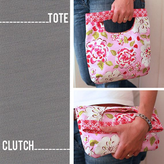 PDF Sewing Pattern Fold Over Clutch / Tote Bag by LBGstudio