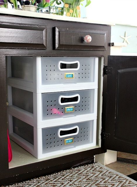 Organized Bathroom Cabinets - Stack drawers to maximize vertical space!