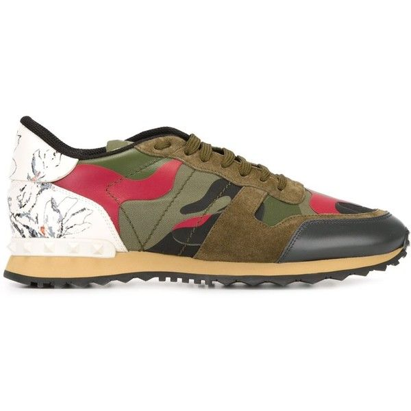 Valentino Garavani Rockrunner Sneakers (€590) ❤ liked on Polyvore featuring men's fashion, men's shoes, men's sneakers, army green, mens camo sneakers, mens floral shoes, mens floral print shoes, valentino mens shoes and valentino mens sneakers