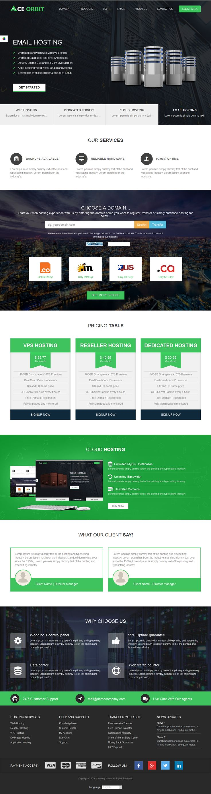 Colors for professional website - Ace Orbit Is An Seo Optimized Whmcs 6 Web Hosting Theme Professional