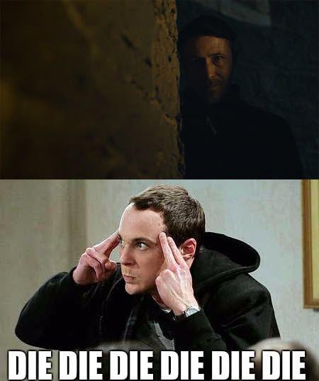 Whenever I see Littlefinger. Game of thrones season 7 funny humour meme, The Big Bang Theory, Sheldon Cooper, Petyr Baelish, Aiden Gillen