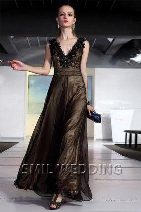 zwarte jurk met tule applique kant pailletten SFGJ2013171