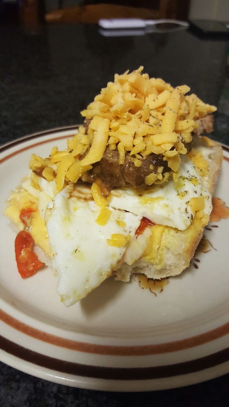 Peppadew cheese, egg and steak panini