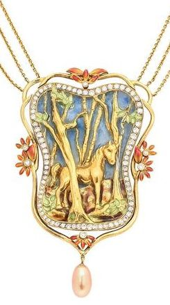 Spectacular Plique-a-Jour Enamel Gold Horse Necklace. This one of a kind, museum quality necklace is breath taking. All in 18 kt gold, the horse stands among the trees in an enchanted forest under a blue plique-a-jour enamel sky...The scene is framed by a row of diamond totaling approximately 4 cts and peach colored enameled flowers with diamond centers. The pendant is finished by a peach fresh water pearl drop. c1996