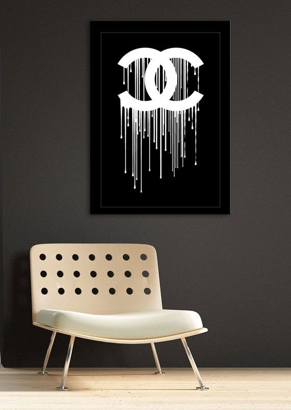 Coco Chanel liquidated logo - print art poster - pink and white dripping paint artwork - choose colors via Etsy kado t