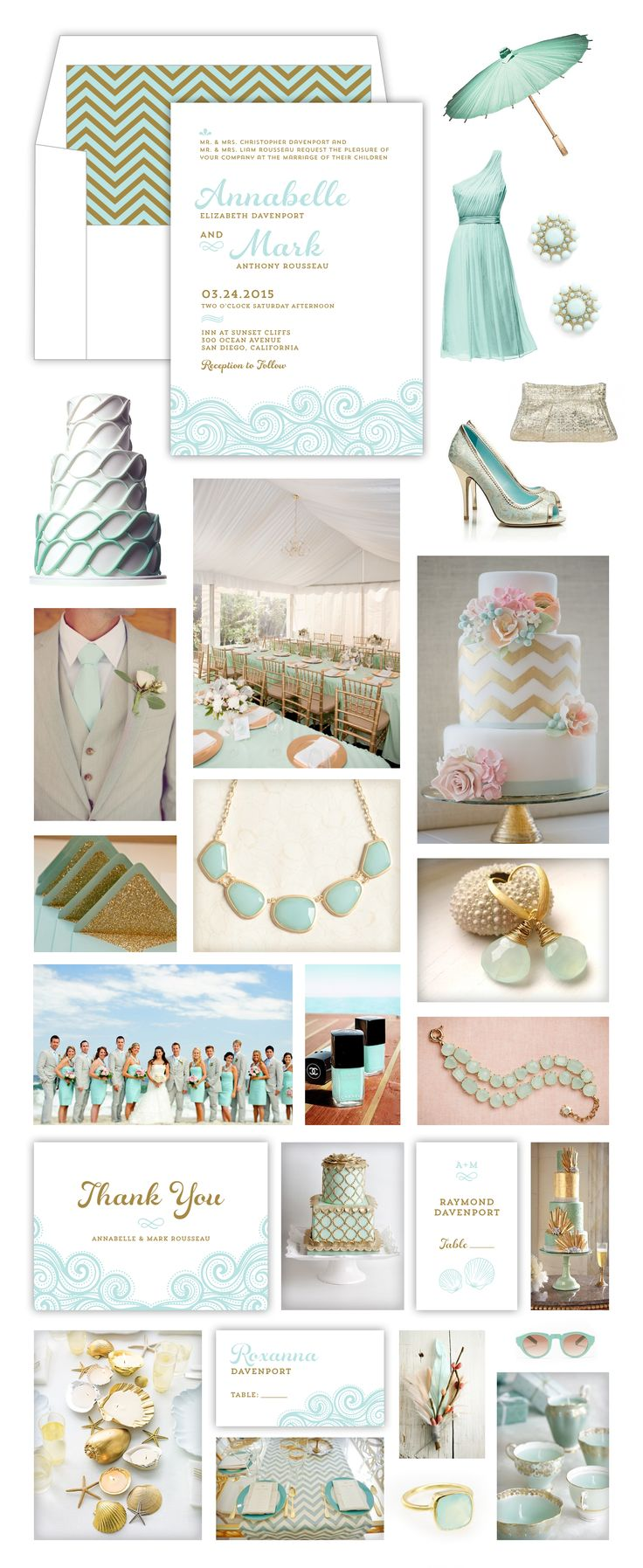 Mint Gold Beach Wedding -- Waves, Sea Shells, Sea Glass, Chevron -- Mint Gold White Wedding Stationary by Lauren DiColli Hooke for KleinfeldPaper.com