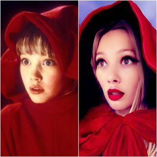 casper and wendy costume. and because hilary is a gift to us all, she re-created her most iconic wendy look using the new red riding hood snapchat filter. casper costume y
