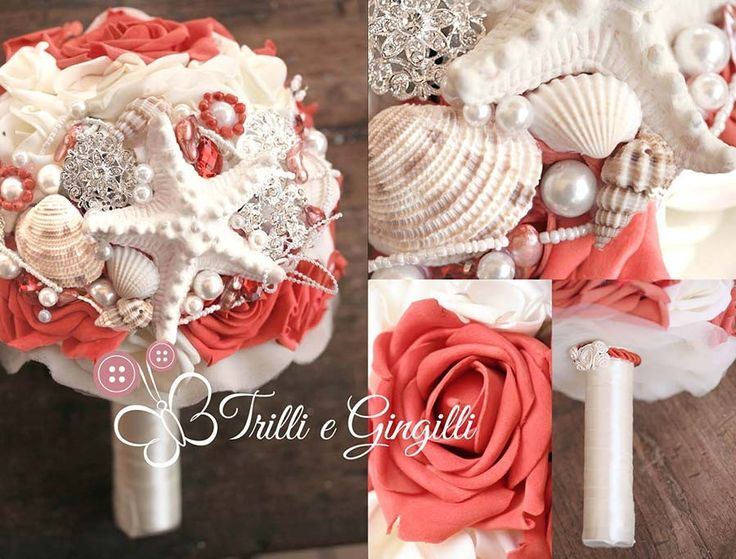 Bouquet bianco e corallo con conchiglie per matrimonio a tema mare. Alternative bouquet for sea themed wedding with sea shell and starfish.  #bouquet #wedding