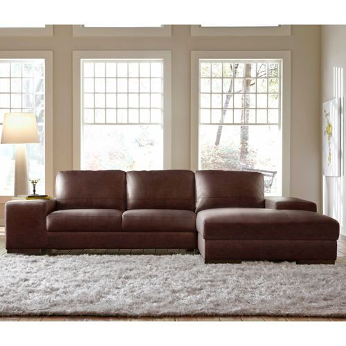 Angelo Brown Bonded Leather Sofa with Right Hand Facing Chaise - Costco Canada Online - $1399 CAD