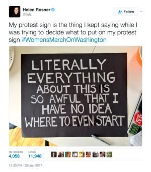 A must-see collection of clever and biting protest signs from the Women's March on Washington and sister marches around the world.: No Idea Where to Start