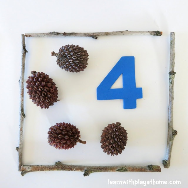 Learn with Play at home: An Invitation to Play and Learn with Numbers and Natural Materials. Great activity for preschool, pre-k or kindergarten to developers number sense and counting. Would be nice activity for nature walk field trip too.