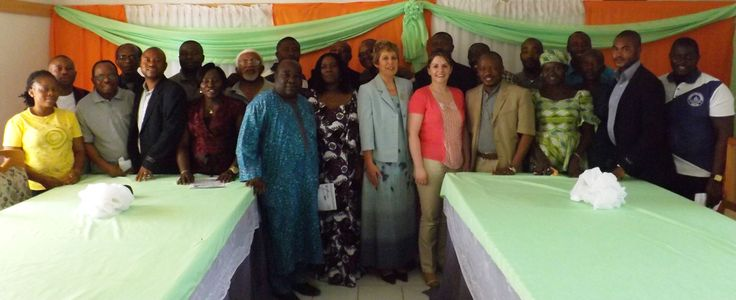 President of Dorben Polytechnic Dr. A.B. Ekwere, Director of the Irish Academy of Public Relations Ellen Gunning  and Tutor Nollaig Whyte with staff at Dorben Polytechnic in Abuja, Nigeria.