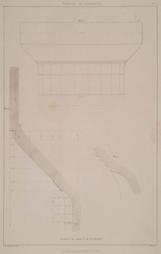 Temple of Hephaestus (Thiseion), Athens. Details of the Capital of the Opisthodomos: Fig. 1: Elevation of the capital to a scale of two inches to a foot. 2. Section of the same to half the full size. 3. The annulets to the full size. - COCKERELL, Charles Robert - TRAVELLERS' VIEWS - Places – Monuments – People Southeastern Europe – Eastern Mediterranean – Greece – Asia Minor – Southern Italy, 15th -20th century