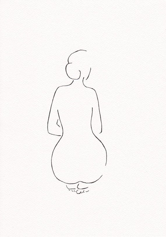 Nude line art drawing. Pen and ink sketch. Minimalist art for gallery wall set ups. Elegant feminine figure from back – Marlies Timmermans