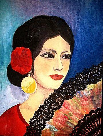 Lady and a Fan - Hölgy legyezővel  - Acrylic on canvas - 18 x 24 cm -  by Márta Bolla - Hungary