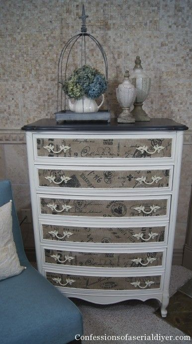 Fabric covered dresser with step by step instructions. It looks amazing up close!