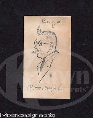 MR. BRIGGS PENNSYLVANIA RAILROAD MAN ORIGINAL JACK BRYAN PENCIL SKETCH DRAWING