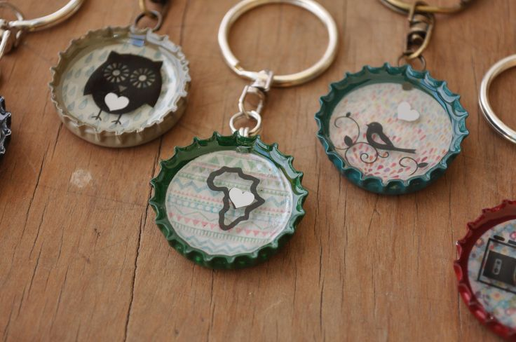 Bundle of 5 Quirky Recycled beercap keyrings with dimensional effect by MugaMugaSouthAfrica on Etsy