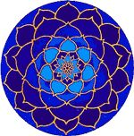 """Moonlight Lotus Window sticker. Here's a radiant blue and gold sticker that will really brighten up your front door or the back window of your car! Diameter: approx. 4-1/2"""""""