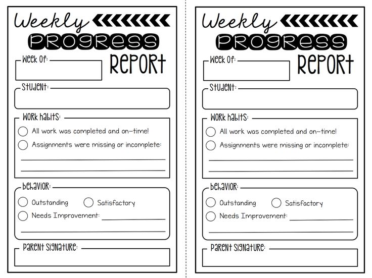 Create●Teach●Share:  Weekly Progress Report {FREEBIE}