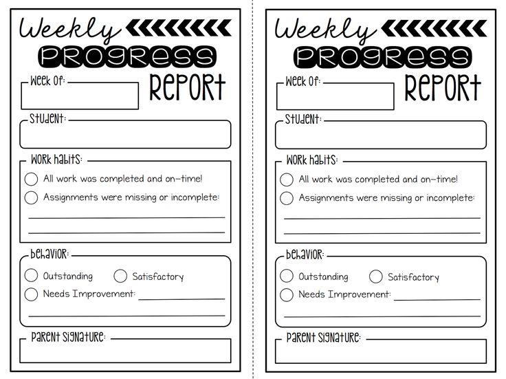 Create●Teach●Share:  Weekly Progress Report {FREEBIE}