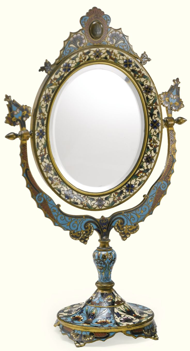 A French Champlevé Enamel Dressing Table Mirror Late 19th Century