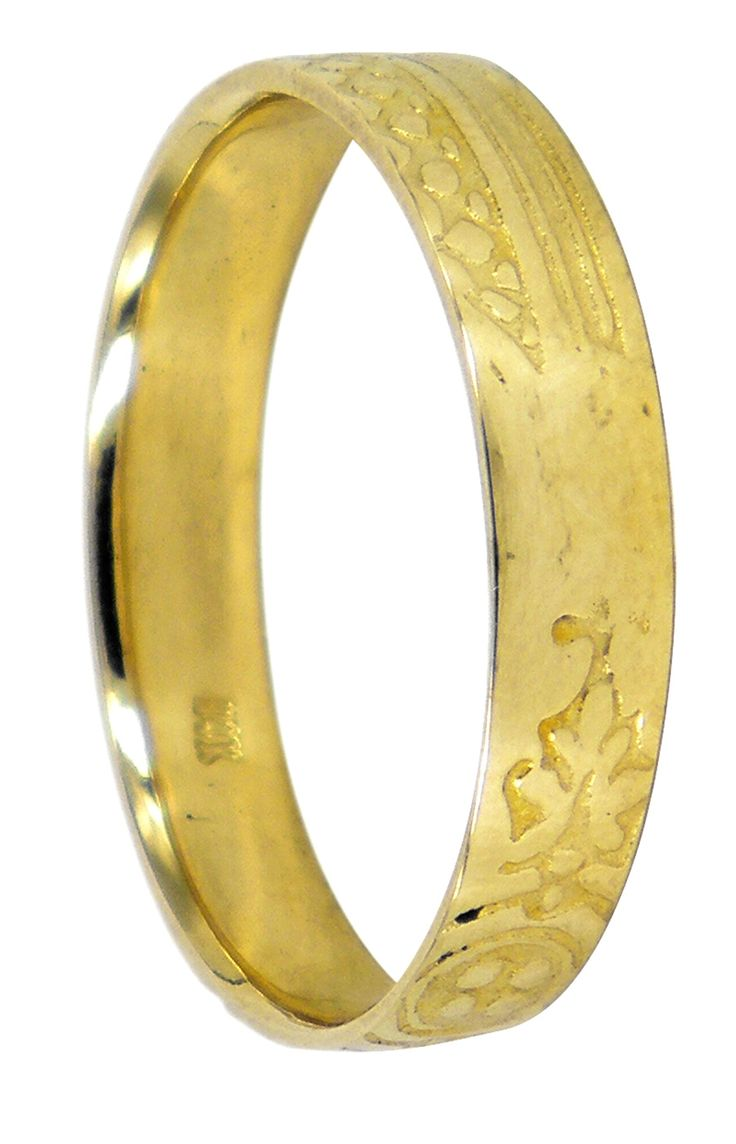 Thin Noveau wedding ring in 14ct yellow gold