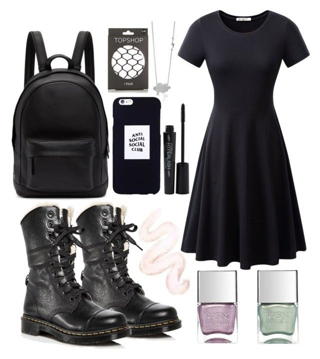 """""""outfit"""" by kwharmony on Polyvore featuring Dr. Martens, PB 0110, Topshop, Anti Social Social Club, Smashbox, Nails Inc. and Poppin Hoez"""